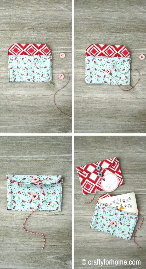 Sewing Button On Fabric Gift Card Holder