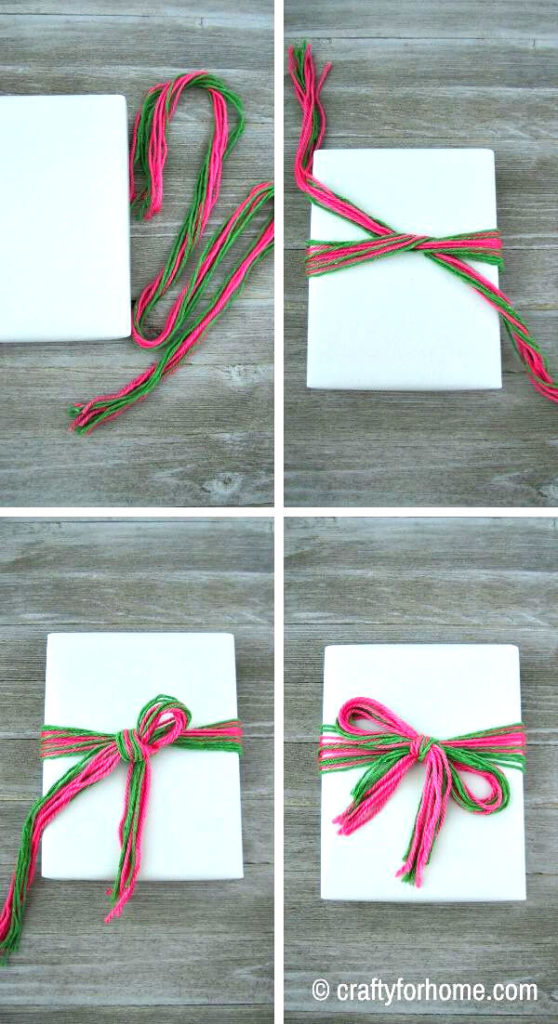 Yarn Bow On Gift Wrapped