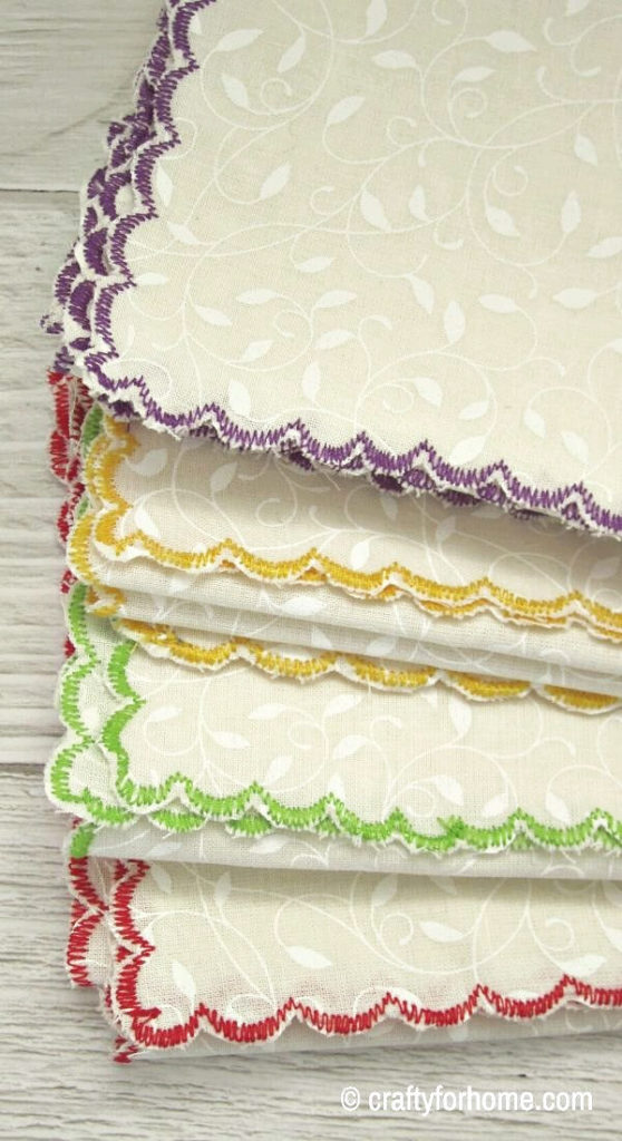 Four Napkins With Colorful Hem