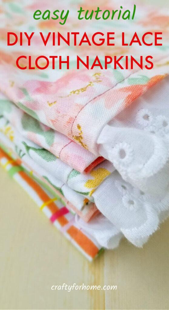 DIY Vintage Lace Cloth Napkins