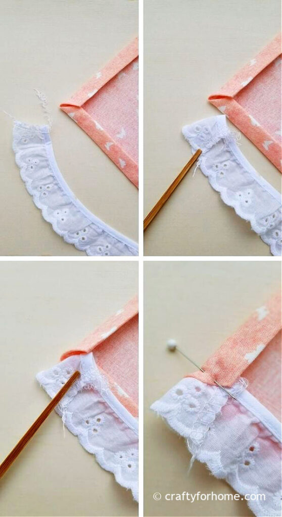 Pinning Lace To Napkins