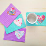 Easy Fabric Heart Mug Rug.