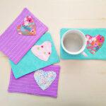 Easy Fabric Heart Mug Rug.