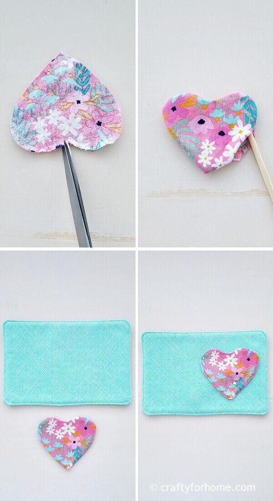 Sewing heart fabric.