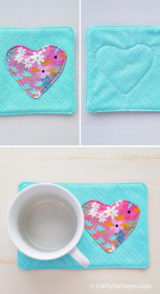 Sewing heart fabric into mug rug.