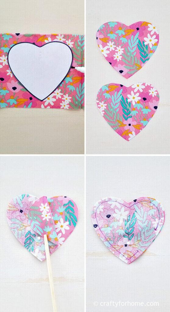 Tracing heart shape on fabric.