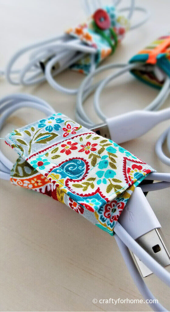 Fabric cord holder with velcro
