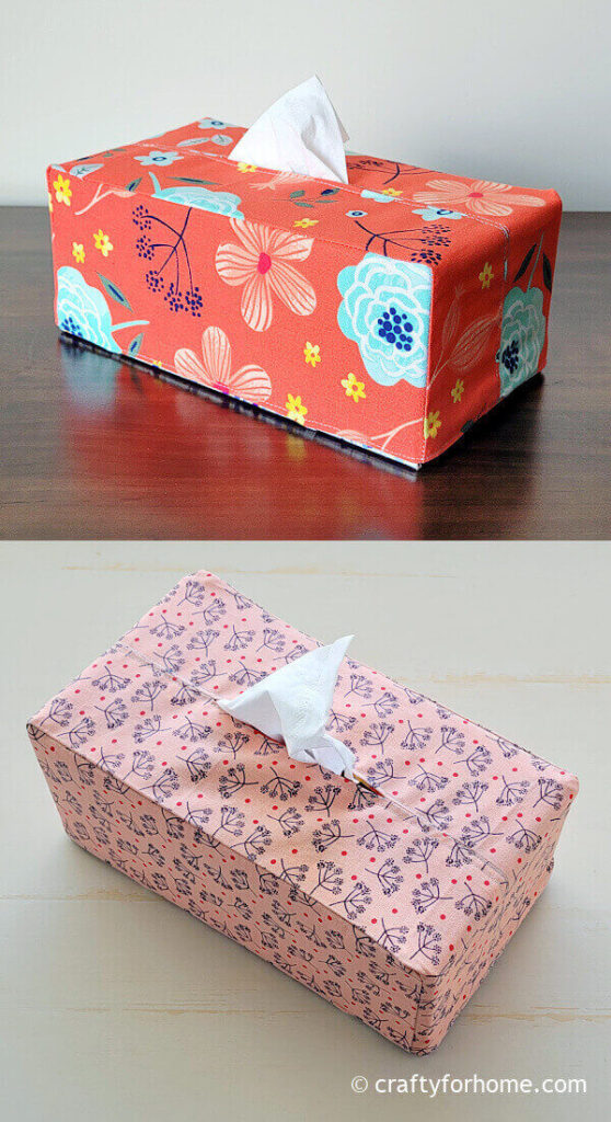 Red and pink fabric tissue box
