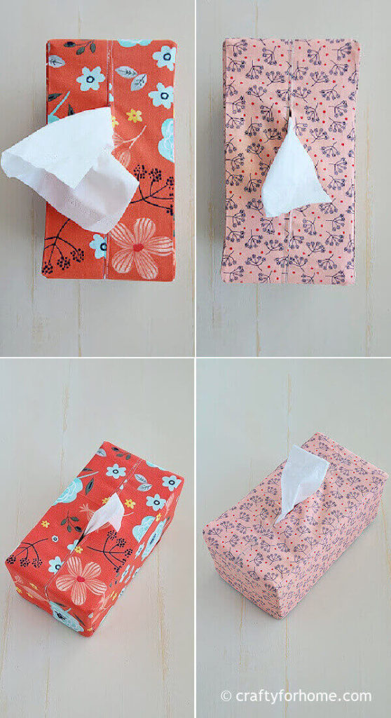 Red and pink tissue box cover
