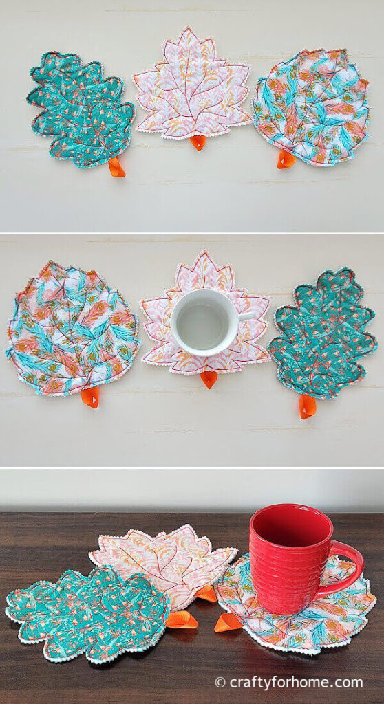 Red and white mug with leaf coasters