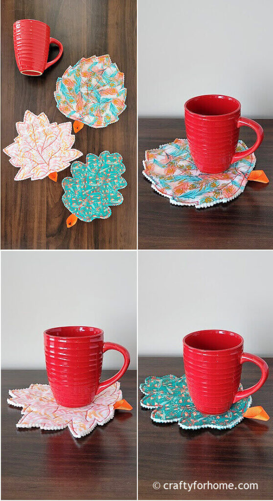 Red Mug With Leaf Coasters