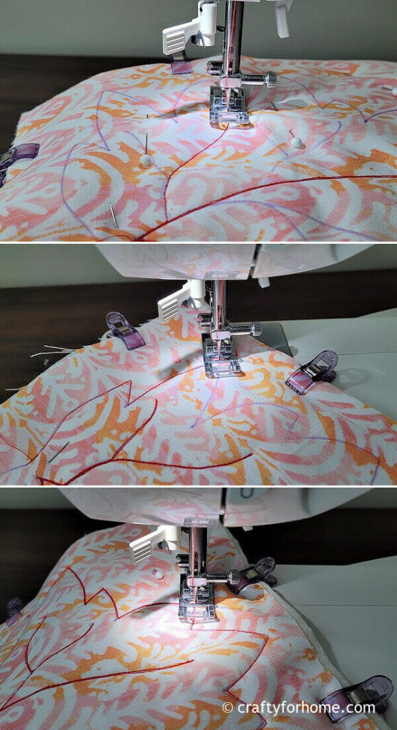 Sewing maple leaf coaster