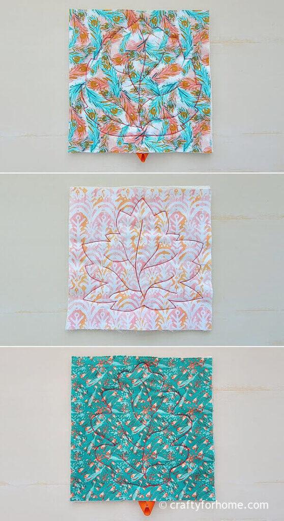Stitched leaf coasters