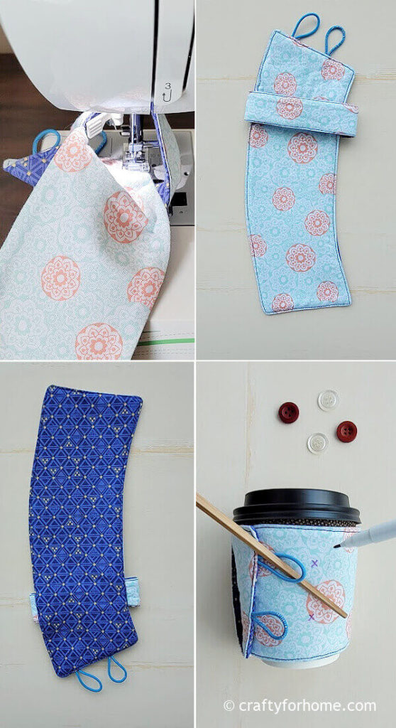 Topstitching the cup cozy